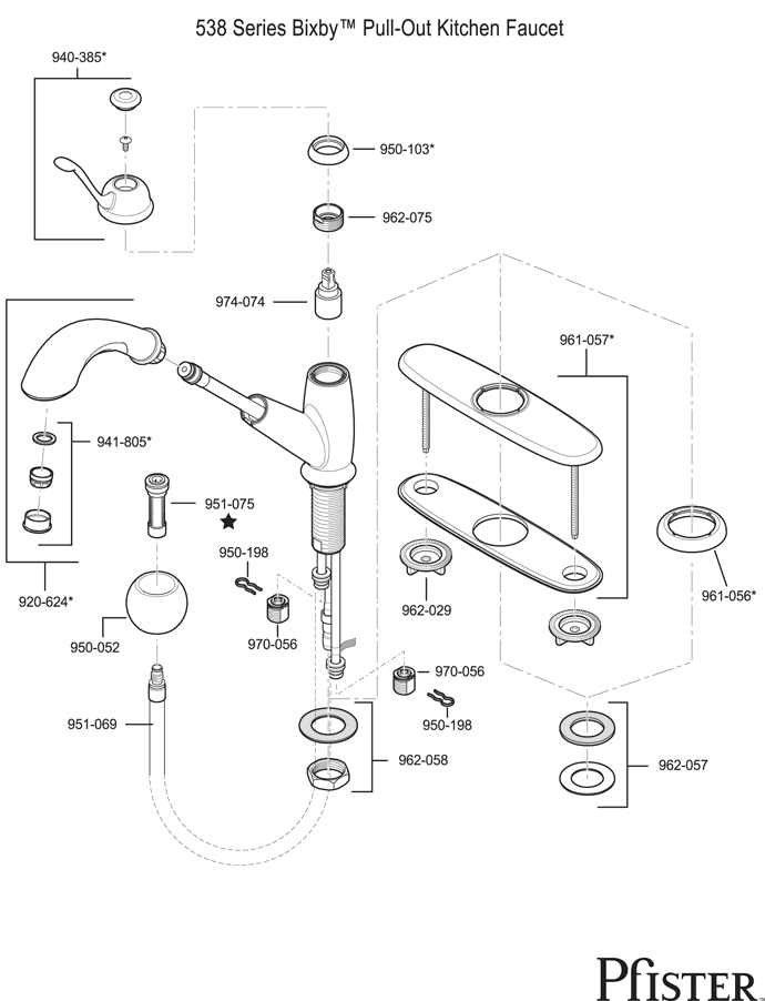pfister 538 series bixby replacement parts - Price Pfister Kitchen Faucet